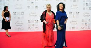Christina Noble (left) and  Deirdre O'Kane pictured attending The IFTA's in The Mansion House, Dublin tonight. Photograph: Aidan Crawley