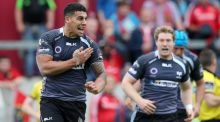 Josh Matavesi celebrates his match winning try against Munster in the Pro 12 semi-final - which moments later was disallowed by the TMO. Photograph: Inpho