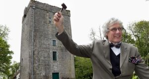 Auctioneer Colm Farrell dressed as WB Yeats at Thoor Ballylee near Gort, Co Galway. Farrell will auction a number of items at the tower, which is the former residence of the poet, on Sunday, May 31st, to raise funds to re-open the tower. Photograph: Joe O'Shaughnessy