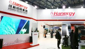 A Hanergy exhibition stand at a Clean Energy Expo in Beijing recently:  China's Hanergy Thin Film Power Group is under investigation by Hong Kong's market watchdog,  after the company lost half its market value of nearly $40 billion in 24 minutes on May 20, 2015. Photograph:  REUTERS