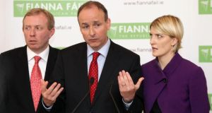 Fianna Fáil's Timmy Dooley, leader Micheal Martin and Senator Averil Power. Photograph: Niall Carson/PA
