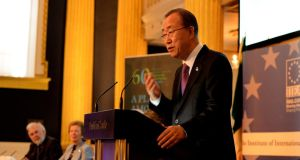 United Nations secretary general   Ban Ki-moon  speaking in Dublin Castle on May 25th, 2015.  Photograph: Cyril Byrne/The Irish Times