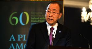 UN Secretary General Ban Ki-Moon has said migrant search and rescue operations should be further strengthened in order to save lives. Photograph: Cyril Byrne/THE IRISH TIMES.