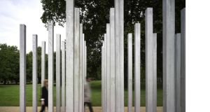 The Hyde Park monument mirrors the places where the four London bombs went off and has 52 stainless steel columns, each representing a victim