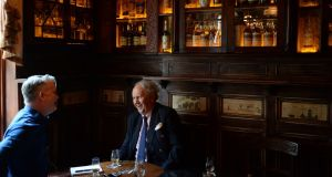 Alexander McCall Smith during recording of the Books podcast in the Palace Bar in Dublin. Photograph: Dara Mac Donaill