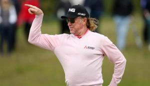 Miguel Angel Jimenez in lighthearted form during practice for the Irish Open at Royal County Down GC yesterday. Photo: Matt Mackey/Inpho/Presseye