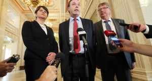 Minister for Finance Arlene Foster,  the DUP's Nigel Dodds and Sammy Wilson: Sinn Feín is leading the charge against the welfare change with the SDLP.  Photograph: Kelvin Boyes