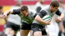 Irish Rugby Captain's Run at Thomond Park: Colm O'Shea and Luke McGrath. Photo: James Crombie/Inpho