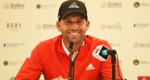 Sergio Garcia of Spain answers questions from the media during the Pro-Am round prior to the Irish Open at Royal County Down Golf Club. Photo: Ross Kinnaird/Getty Images