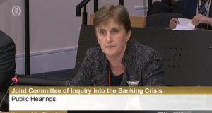 Mary Burke, head of banking supervision in the Central Bank from 2006-2008, appearing at the Banking Inquiry on May 27th, 2015. Photograph: Oireachtas TV