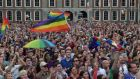 Thousands of people celebrate in Dublin Castle Square as the result of the referendum is relayed on May 23rd. Voters in the Republic of Ireland were taking part in a referendum on legalising same-sex marriage. Photograph: Charles McQuillan/Getty Images
