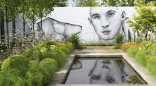 """Darkness into Light – The Pieta House Garden"", a medium-sized show garden which was designed by Niall Maxwell and which features a mural by Joe Caslin. Photograph: Richard Johnston"