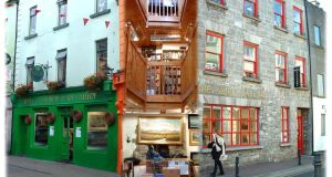 A composite image of Kenny's former bookshop and gallery in Galway city centre