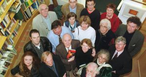 A reception in 2001 was held in Kenny's Bookshop, Galway, to celebrate the lifetime achievements of David Marcus in launching the literary careers of hundreds of writers. David and his wife Ita Daly, centre, are pictured with, front from left: Claire Keegan, Tom Duddy, Michael Mullen and Margaretta D'Arcy. Second row: Mike McCormack, Des Kenny of Kenny's Bookshop, Geraldine Mills, Moya Cannon, John Arden and Seamus Hosey. Back: Tom Kilroy, Cáilín Ó h-Aodha, Jamie O'Neill, Joan McBreen and Ger Reidy. Photograph: Joe O'Shaughnessy.