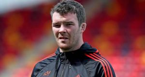 Peter O'Mahony has been ruled out of Munster's Pro 12 final against Glasgow on Saturday. Photograph: Inpho