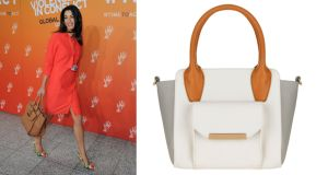 Amal Alamuddin carrying The Amal in brown €970 ballin-shoes.ie Black white orange and grey tote bag €53 M&S