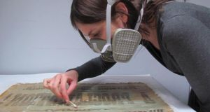 Enriching awareness of our heritage: restoring a political poster. Photograph courtesy of the Heritage Council