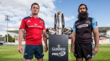 Face off: Munster captain  Denis Hurley and Glasgow Warriors' captain Josh Strauss   ahead of today's Guinness Pro12 final in  Kingspan Stadium, Belfast. Photograph: Dan Sheridan/Inpho