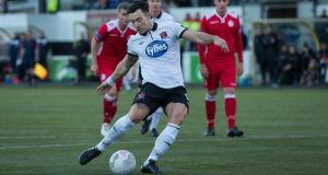 Richie Towell scores Dundalk's  fourth goal from the  penalty spot during the FAI Cup game against Shelbourne at Oriel Park. Photo: Ryan Byrne/Inpho