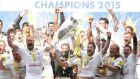 Saracens lifted the Premiership after a 28-16 win over Bath at Twickenham. Photograph: Reuters