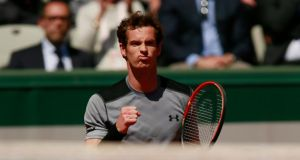 Andy Murray is through to the last eight of the French Open after a four set win over Jérémy Chardy. Photograph: Reuters