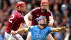 Galway's Jonathan Glynn and Joe Canning tackle Dublin's Conal Keaney at Croke Park. Photograph: Cathal Noonan/Inpho