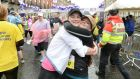 Irish Times technology journalist  Ciara O'Brien (right) and her sister Sorca  celebrate upon  finishing the Vhi Women's Mini Marathon in Dublin on June 1st, 2015. Photograph: Dara Mac Dónaill/The Irish Times