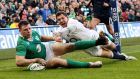 Robbie  Henshaw scored the season-defining try with a high take and adroit touchdown off Conor Murray's box kick against England. And, with that, a new Irish midfield star was born. Photo:  David Rogers/Getty Images
