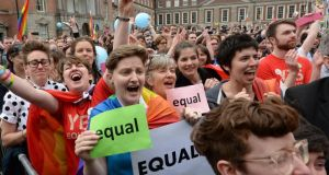 Crowds react on hearing the results of the referendum on marriage equality. Photograph: Dara Mac Dónaill