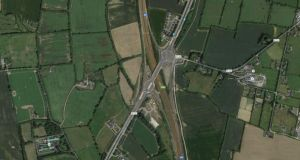 Satellite image of Junction 4 on the M1, where Patrick Hutchinson is believed to have entered the motorway before being fatally struck by a car. A sign indicating cyclists should not enter the motorway may have  been removed during road works at the time, his inquest heard. Photograph: Google Street View