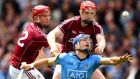 Galway's Jonathan Glynn and Joe Canning tackle Dublin's Conal Keaney. Photograph: Cathal Noonan/Inpho