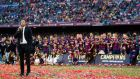 Luis Enrique's Barcelona are on the brink of the treble. Photograph: Getty