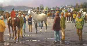 'Horse Fair at Goresbridge', an oil on canvas by Peter Curling is estimated at €20,000-€25,000 at de Vere's auction
