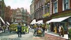One of the postcards from Lot 53 at Whyte's 'Eclectic Collector' auction next Saturday depicts a scene from early 20th century on Grafton Street, Dublin
