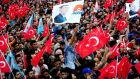 Turkey's president Recep Tayyip Erdogan greets supporters during a rally in the eastern city of Kars. Photograph: AFP
