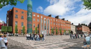 Computer-generated image of the proposed Parnell Square cultural quarter.  It is hoped the development will act as a catalyst for the regeneration of the Georgian square and surrounding streets