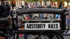 A horse-drawn carriage leading an anti-austerity march in Dublin. The Irish Human Rights and Equality Commission has said that budgetary choices made by Government have led to greater deprivation and difficulty for the most vulnerable groups. File  photograph: Eric Luke/The Irish Times
