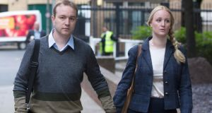 Former trader Tom Hayes arriving at Southwark Crown Court with his wife, Sarah. Photograph: Simon Dawson/Bloomberg