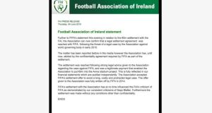 Football Association of Ireland  statement addressing the €5 million settlement agreement with Fifa to drop legal action over the Thierry Henry handball that kept the country out of the 2010 World Cup.