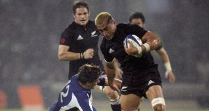 A file image from 2006 showing  former All Black captain Jerry Collins playing against France. Collins and his wife died in a crash on Friday. Photograph: Getty