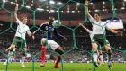 French defender William Gallas scores  the decisive goal against Ireland in the World Cup 2010 qualifying play-off in Paris. Photograph: AFP/Getty Images