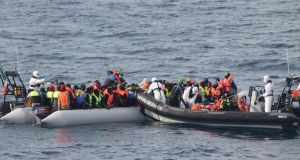113 migrants are rescued by the Irish Naval Services vessel LÉ Eithne on Saturday, June 5th. Photograph: Irish Defence Forces
