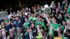 Fermanagh's John Paul McGarry lifts The Lory Meagher Cup. Photograph: Ryan Byrne/Inpho