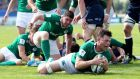 Ireland's Conor Oliver scores their second try against Scotland. Photograph: Matteo Ciambelli/Inpho