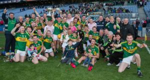 Kerry celebrate their victory over Derry in the Christy Ring Cup final at Croke Park. Photo: Ryan Byrne/Inpho