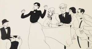 Dramatic legacy: the 1930 Abbey Theatre production of WB Yeats's play The Words Upon the Window-Pane, in a drawing by Grace Plunkett. Photograph: National Library of Ireland