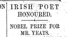Nobel Prize for Mr Yeats: The Irish Times reported the poet's award on November 15th, 1923