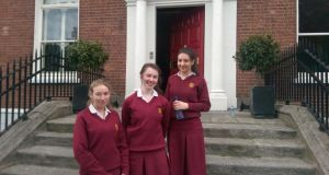 Photograph: (left to right): Niamh Lawlor (18), Julia Masterson (18) and Katie Havel (18)
