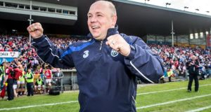 Waterford manager Derek McGrath celebrates the Munster semi-final victory over Cork in Thurles last Sunday. Photograph: James Crombie/Inpho