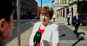 Catherine Murphy TD  outside Leinster House before the start of the debate on IBRC. Photograph: Aidan Crawley